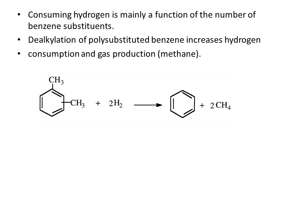 Consuming hydrogen is mainly a function of the number of benzene substituents.