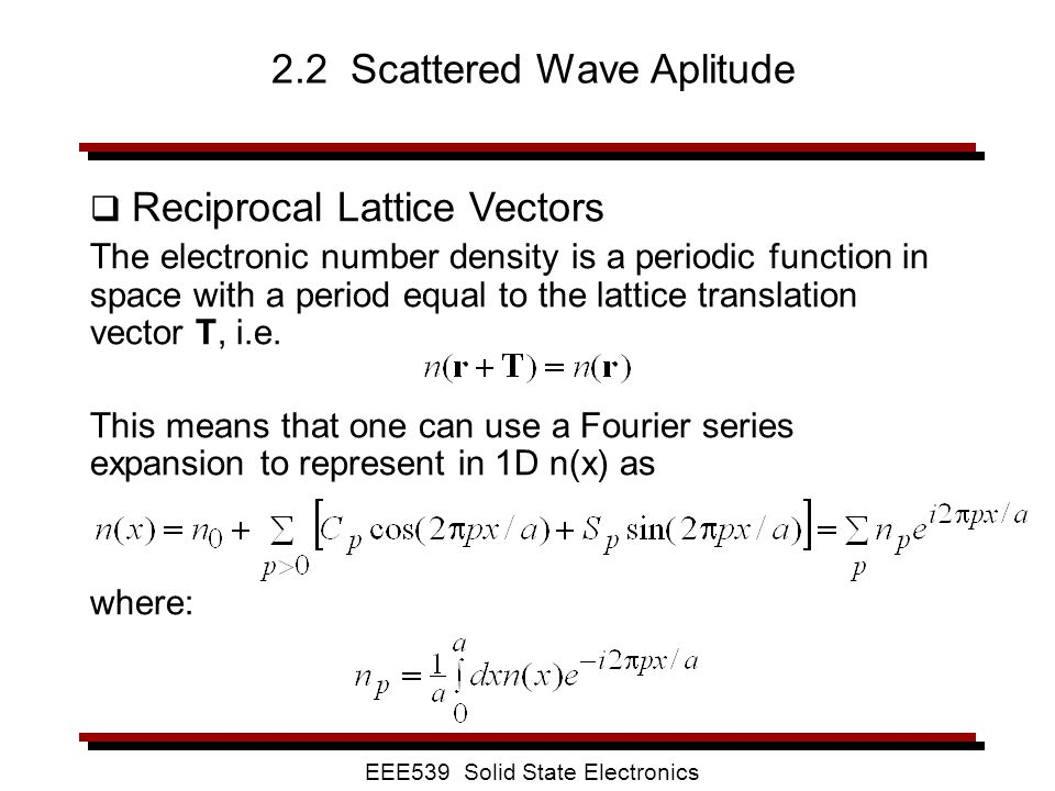 2.2 Scattered Wave Aplitude
