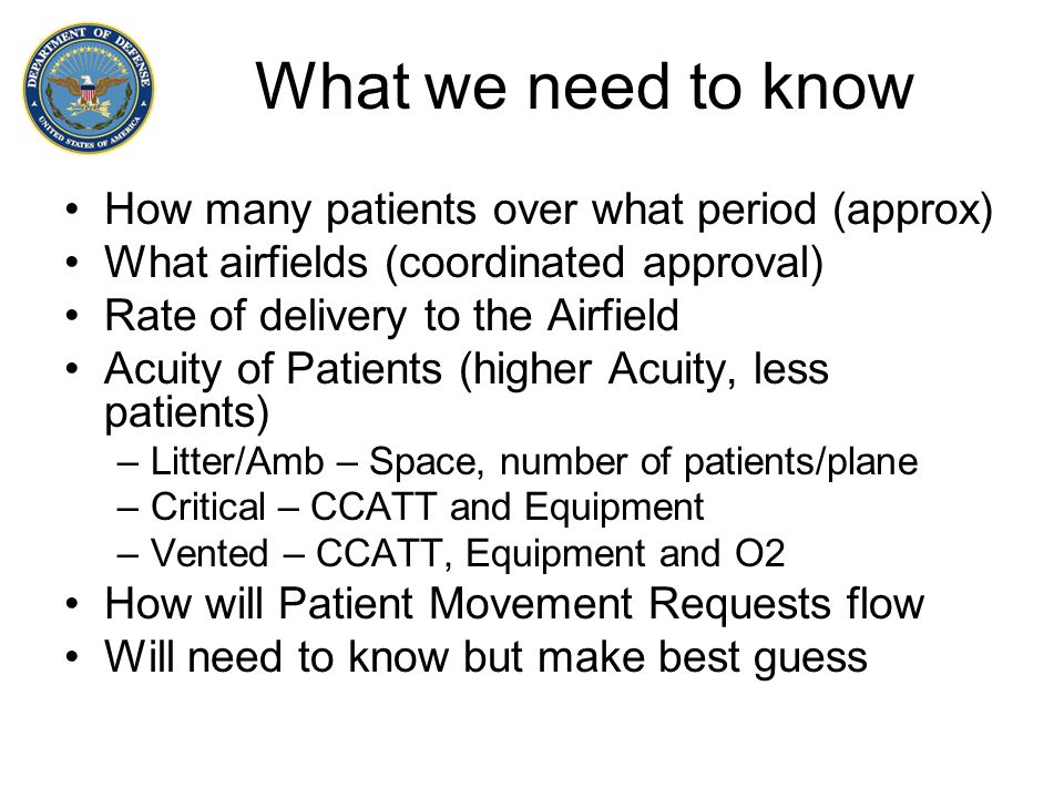What we need to know How many patients over what period (approx)