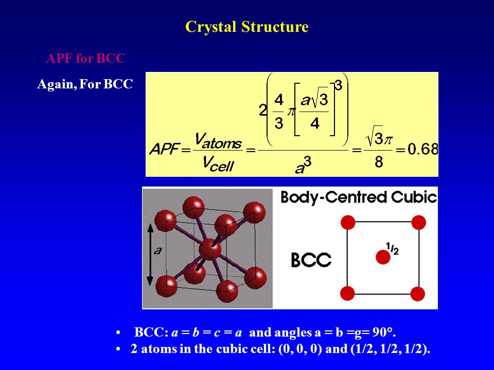 Crystal Structure APF for BCC Again, For BCC
