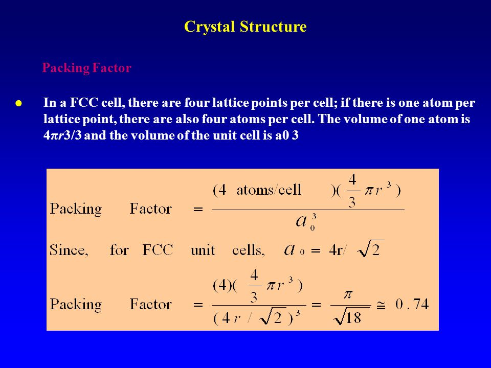 Crystal Structure Packing Factor