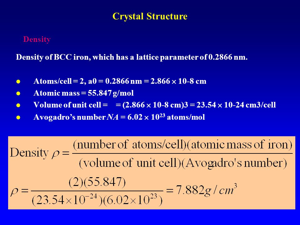 Crystal Structure Density
