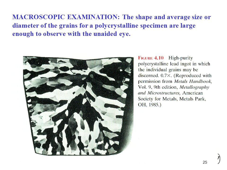 MACROSCOPIC EXAMINATION: The shape and average size or