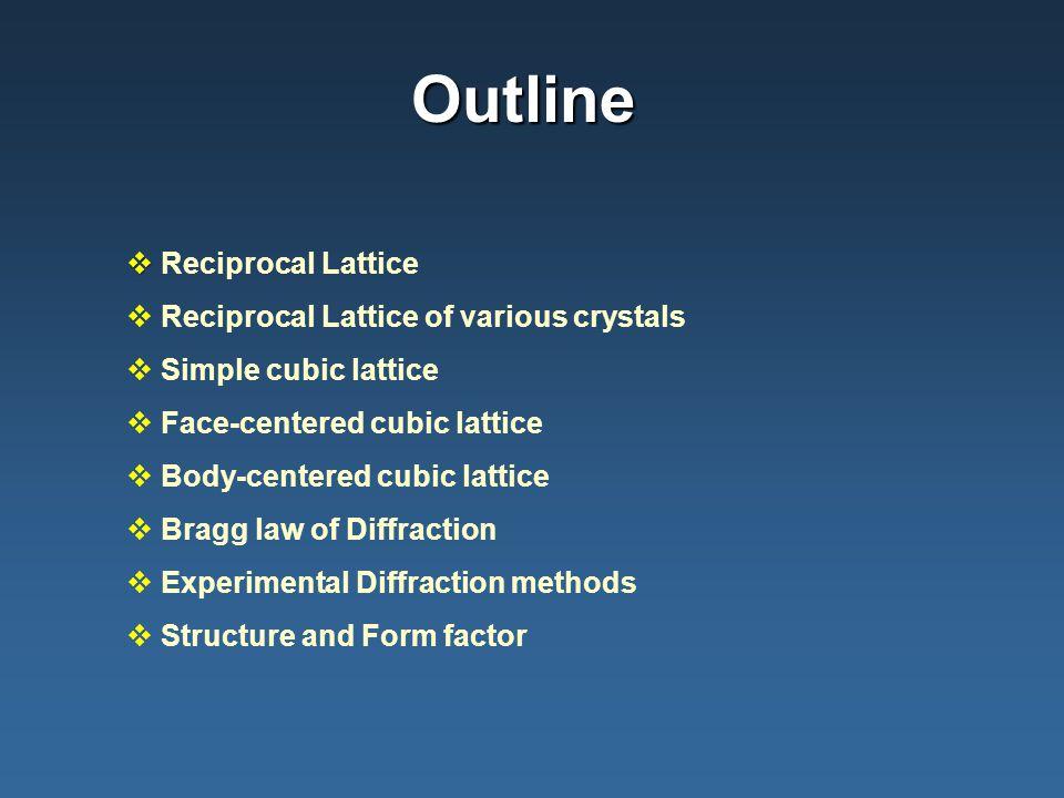 Outline Reciprocal Lattice Reciprocal Lattice of various crystals