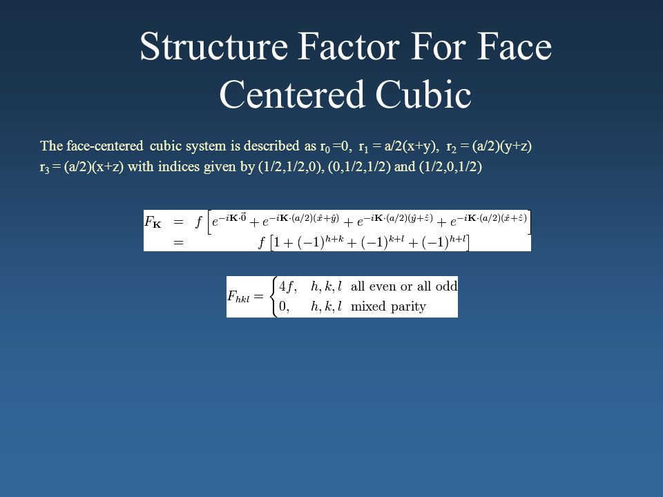 Structure Factor For Face Centered Cubic