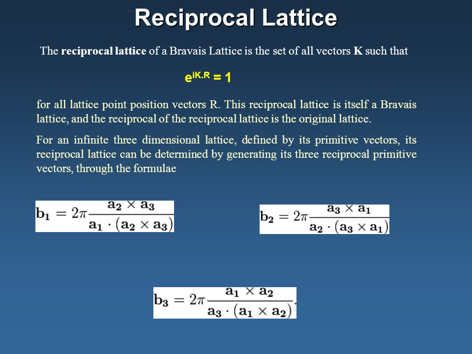 Reciprocal Lattice The reciprocal lattice of a Bravais Lattice is the set of all vectors K such that.