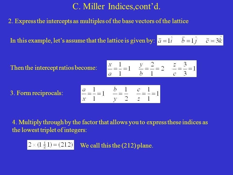 C. Miller Indices,cont'd.