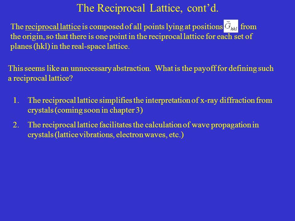 The Reciprocal Lattice, cont'd.