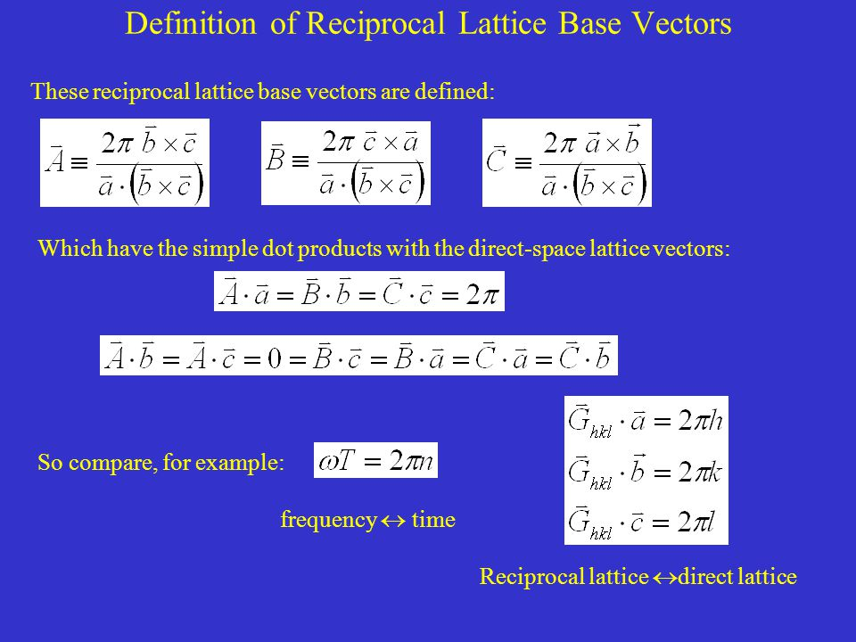 Definition of Reciprocal Lattice Base Vectors