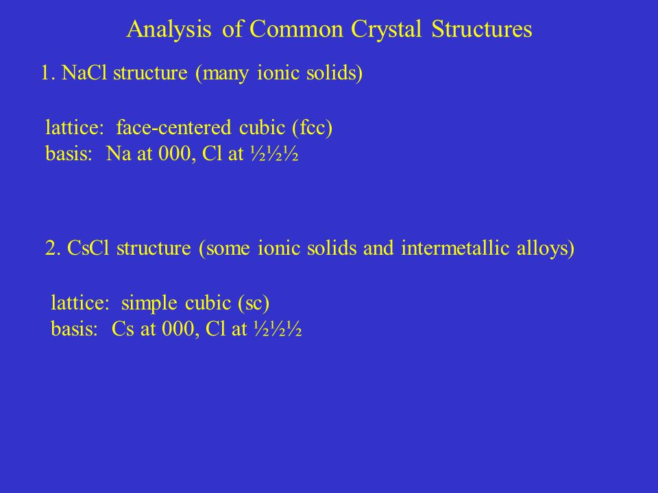 Analysis of Common Crystal Structures