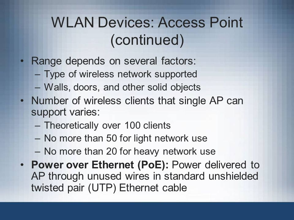 WLAN Devices: Access Point (continued)