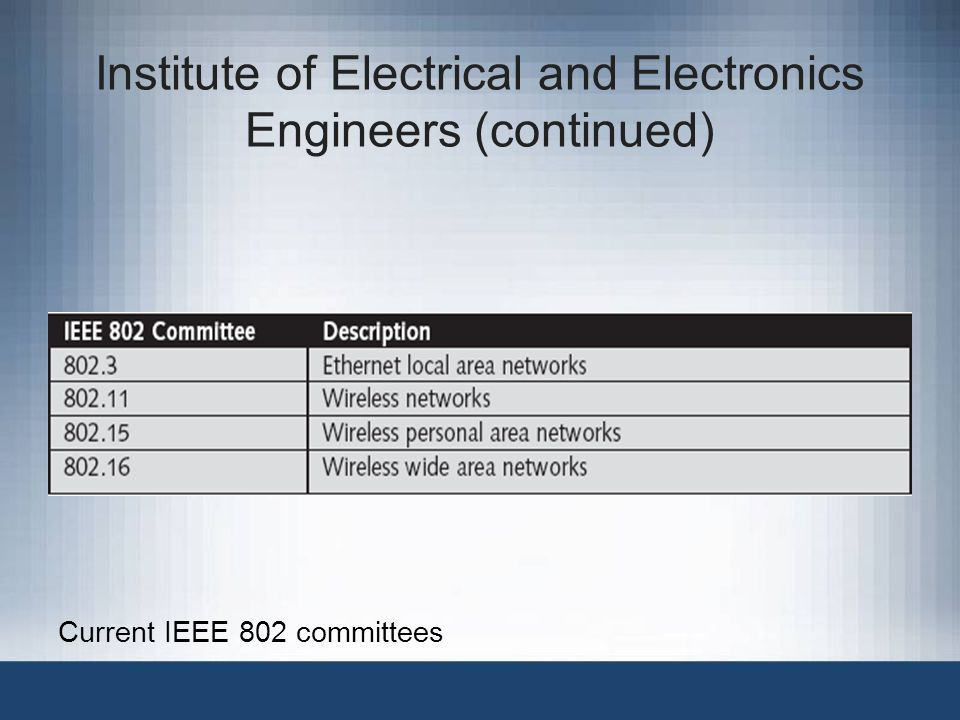 Institute of Electrical and Electronics Engineers (continued)