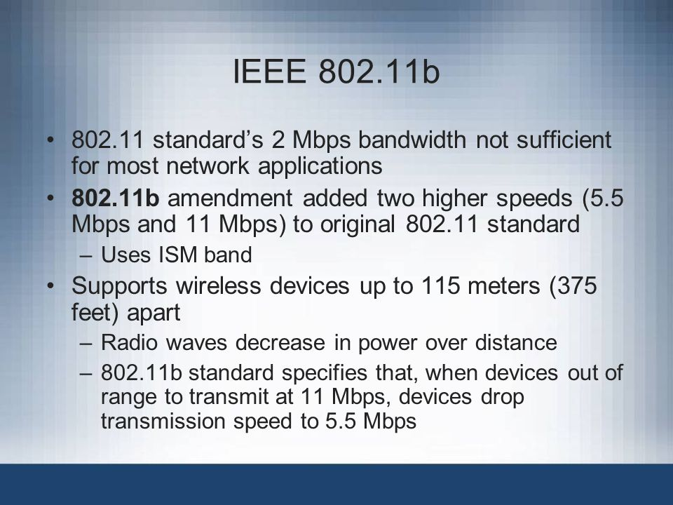 IEEE 802.11b 802.11 standard's 2 Mbps bandwidth not sufficient for most network applications.