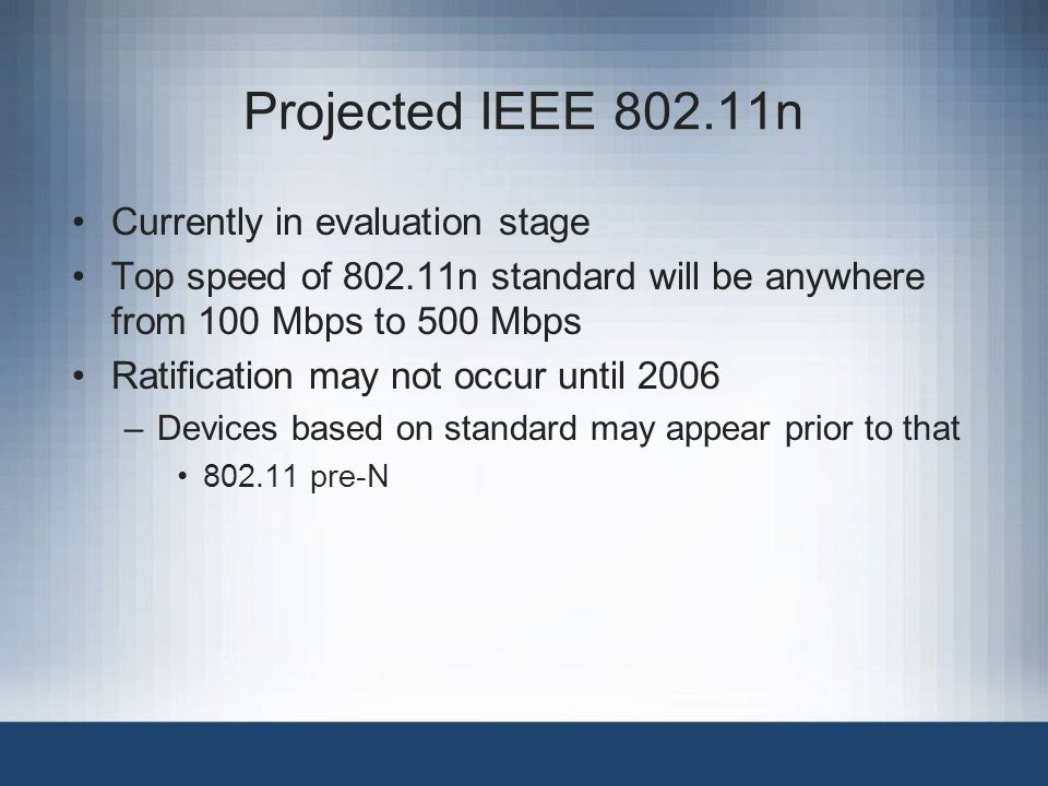 Projected IEEE 802.11n Currently in evaluation stage