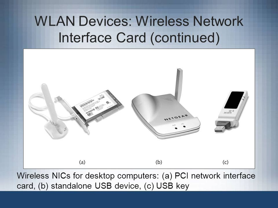 WLAN Devices: Wireless Network Interface Card (continued)