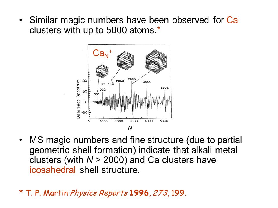 Similar magic numbers have been observed for Ca clusters with up to 5000 atoms.*
