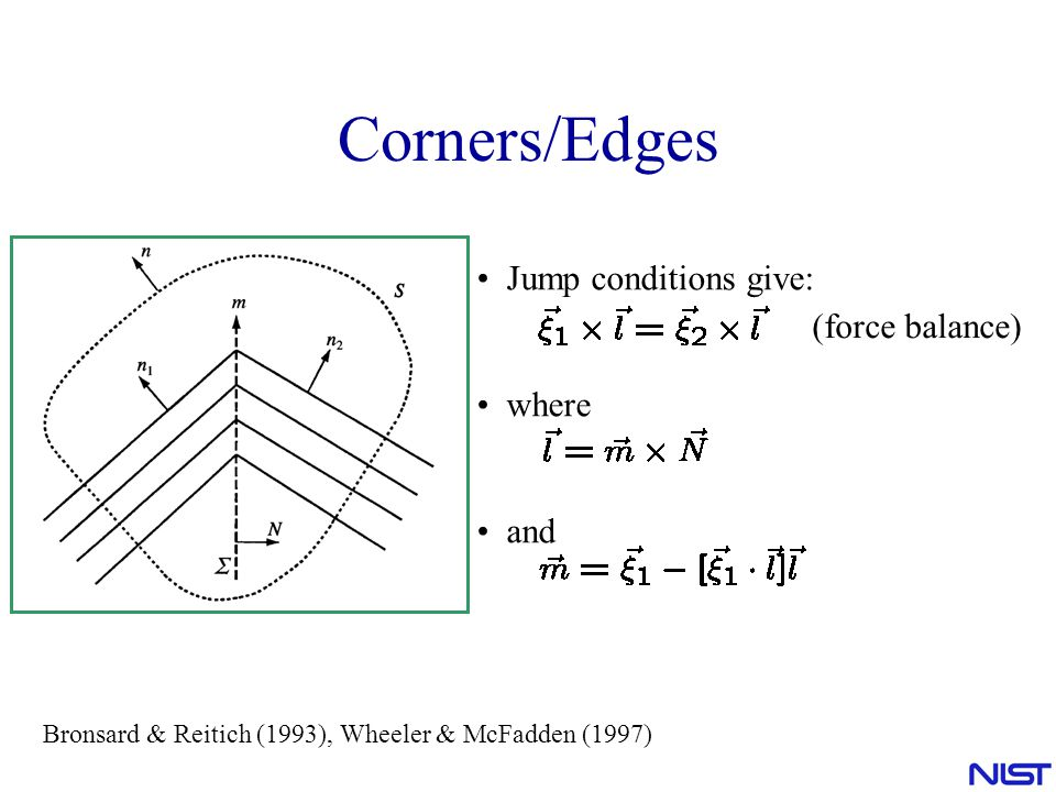 Corners/Edges Jump conditions give: (force balance) where and