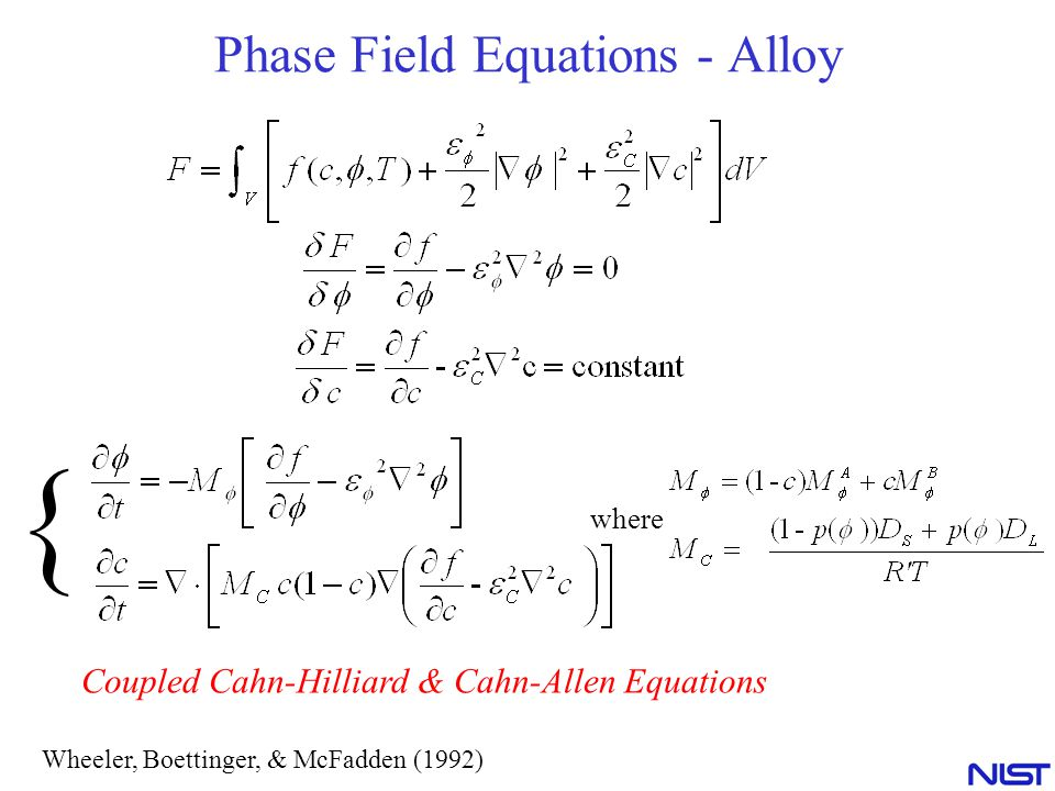 Phase Field Equations - Alloy