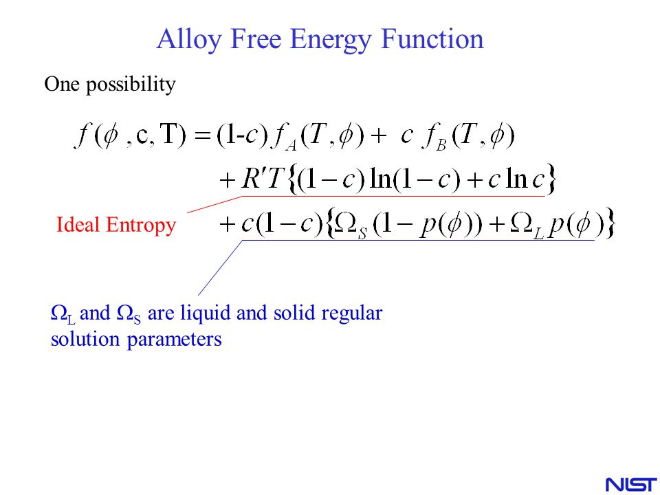Alloy Free Energy Function