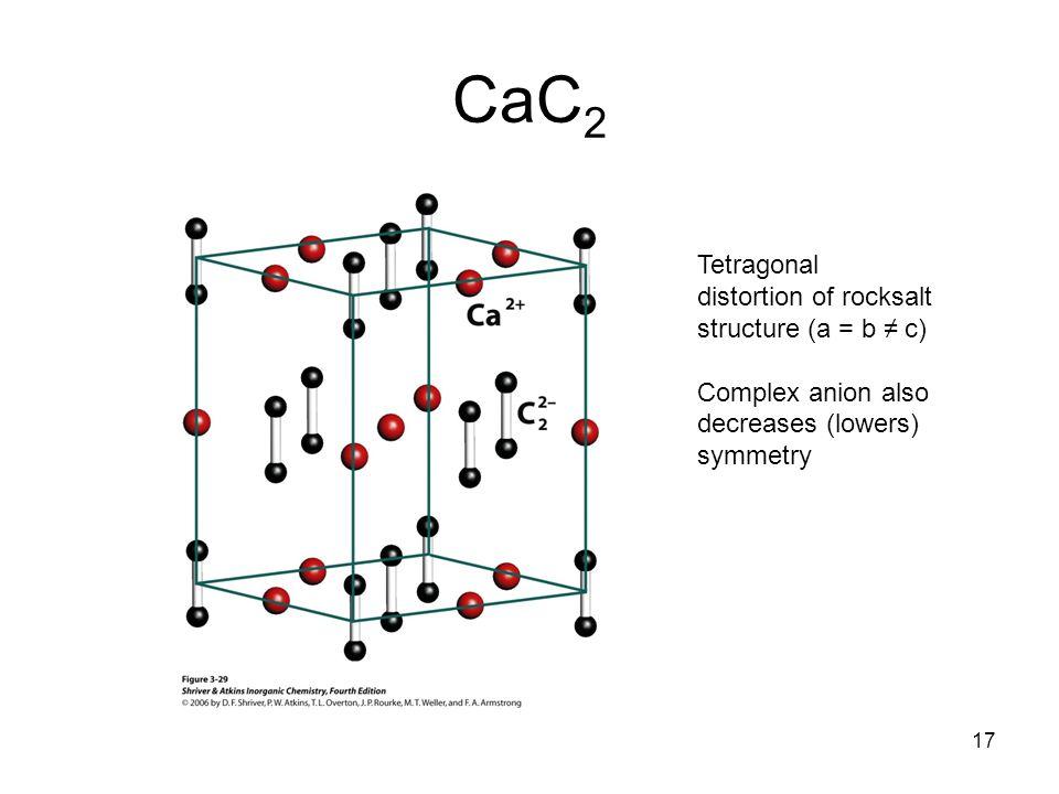 CaC2 Tetragonal distortion of rocksalt structure (a = b ≠ c)