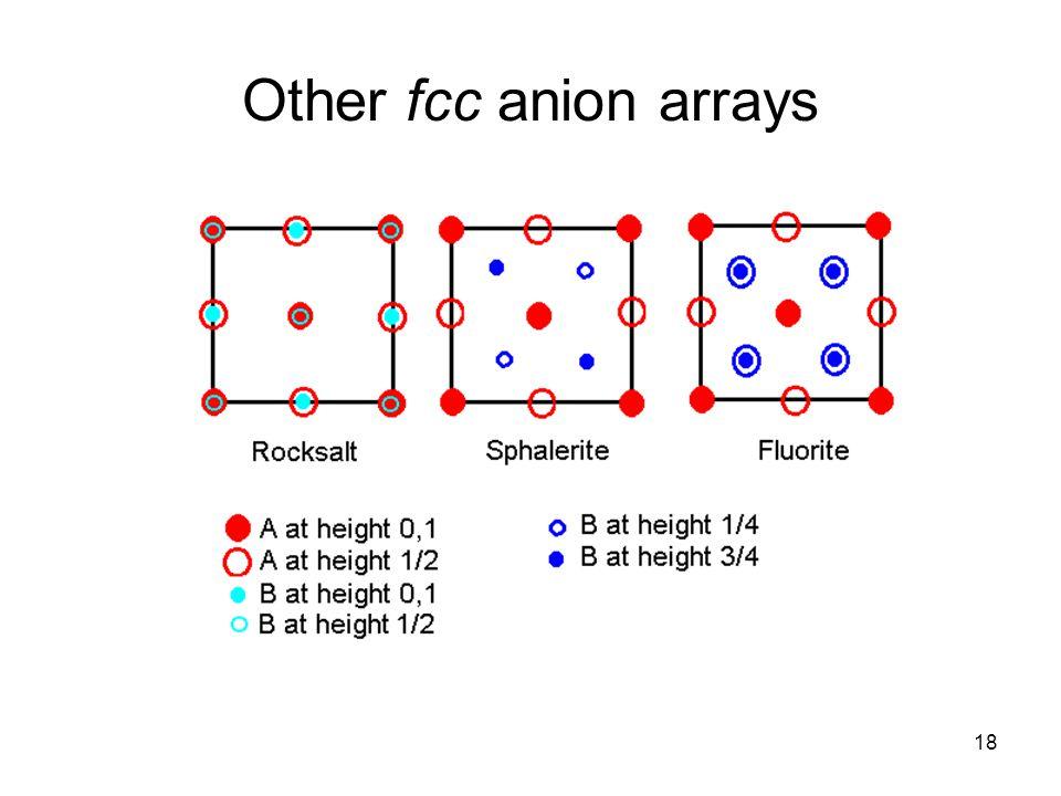 Other fcc anion arrays