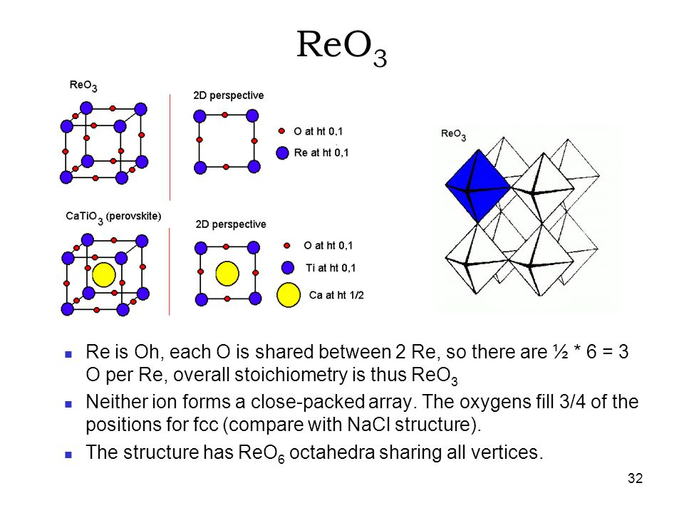 ReO3 Re is Oh, each O is shared between 2 Re, so there are ½ * 6 = 3 O per Re, overall stoichiometry is thus ReO3.