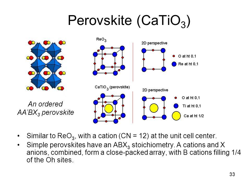Perovskite (CaTiO3) An ordered AA'BX3 perovskite