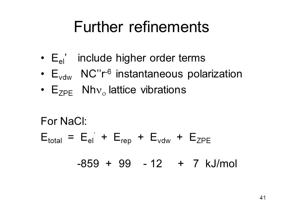 Further refinements Eel' include higher order terms