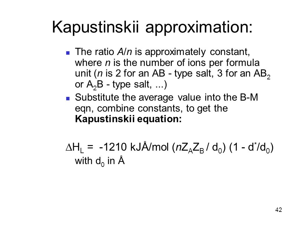 Kapustinskii approximation: