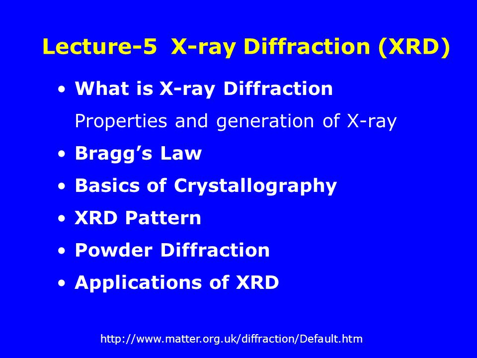 Lecture-5 X-ray Diffraction (XRD)