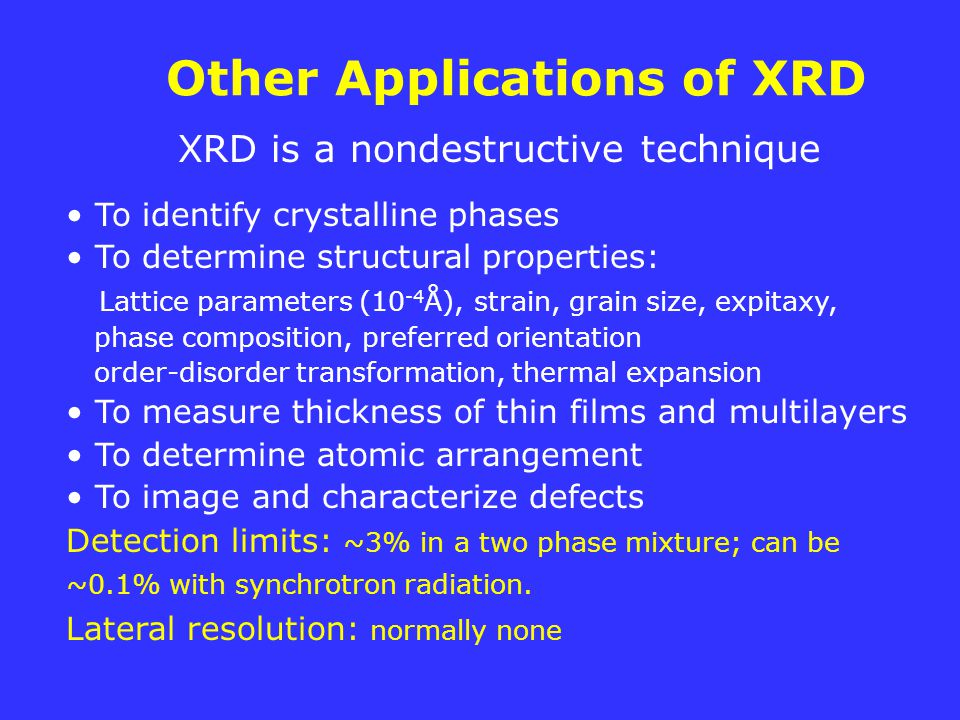 Other Applications of XRD