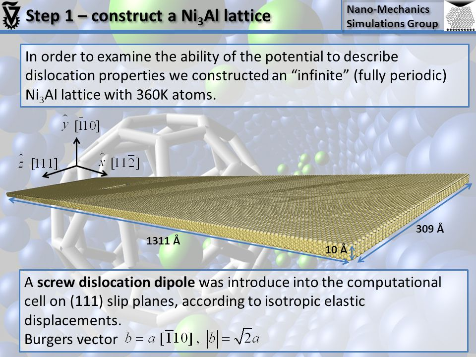 Step 1 – construct a Ni3Al lattice