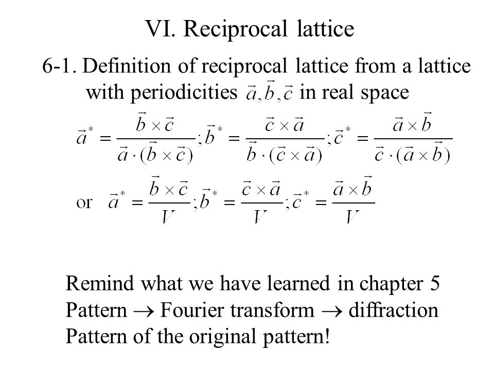 VI. Reciprocal lattice 6-1. Definition of reciprocal lattice from a lattice. with periodicities in real space.