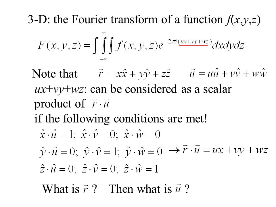 3-D: the Fourier transform of a function f(x,y,z)
