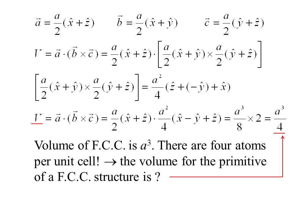 Volume of F.C.C. is a3. There are four atoms