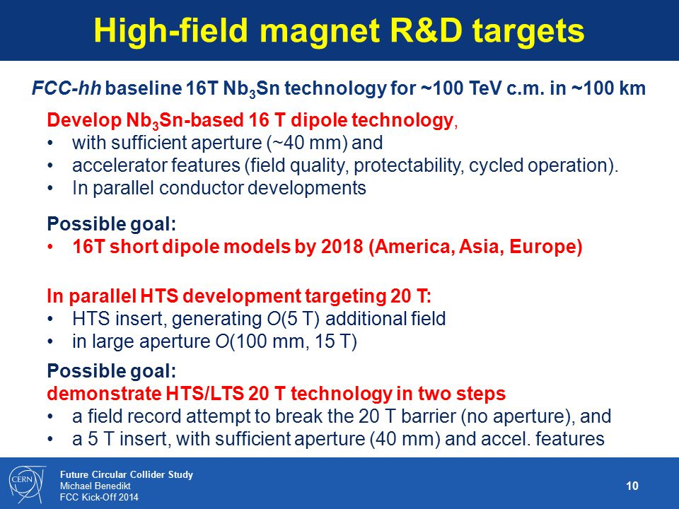High-field magnet R&D targets