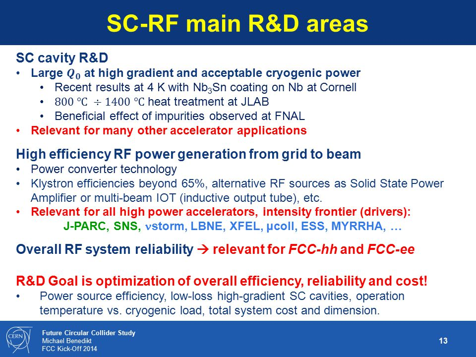SC-RF main R&D areas SC cavity R&D