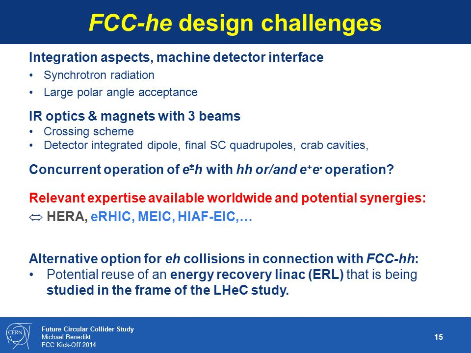 FCC-he design challenges
