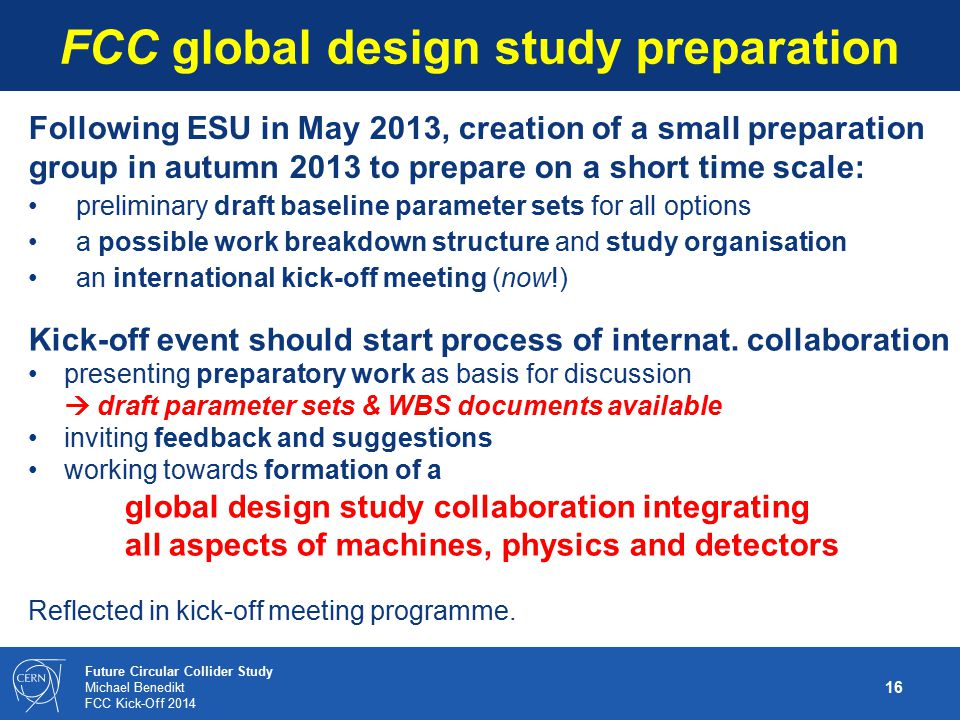 FCC global design study preparation