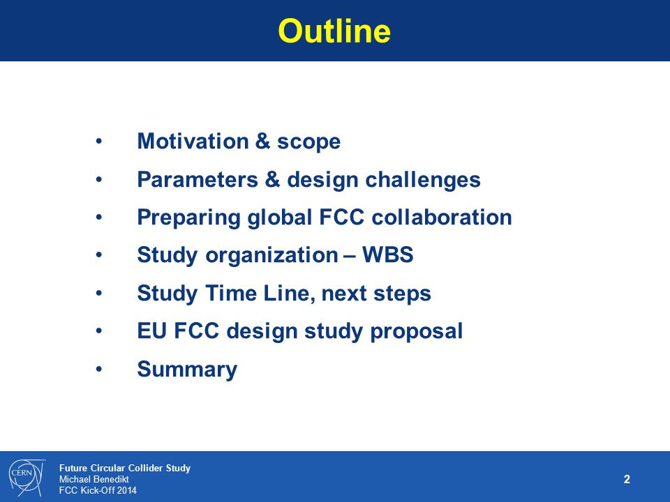Outline Motivation & scope Parameters & design challenges
