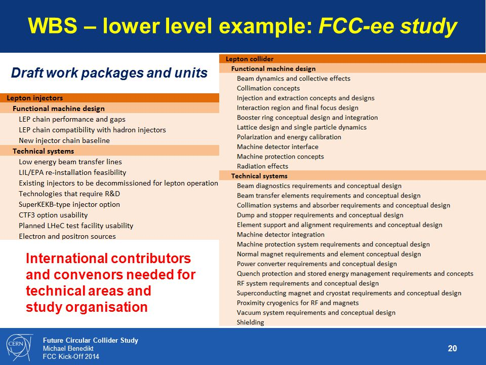 WBS – lower level example: FCC-ee study