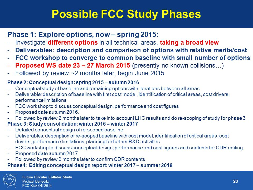 Possible FCC Study Phases