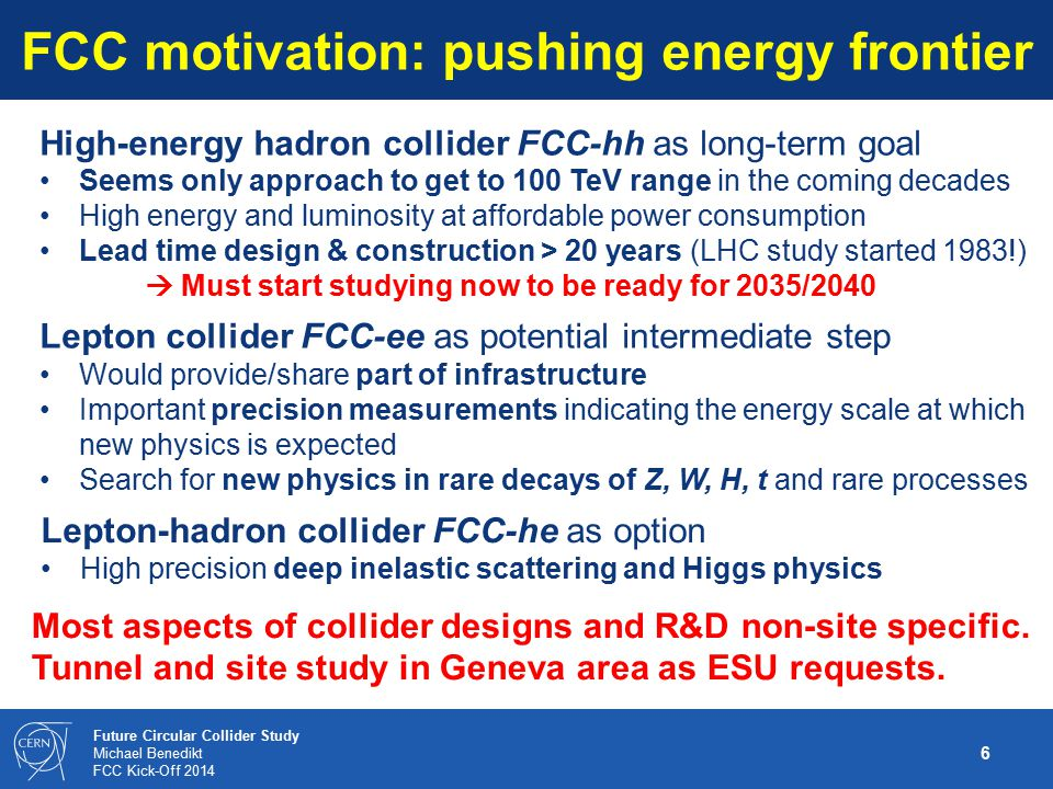 FCC motivation: pushing energy frontier