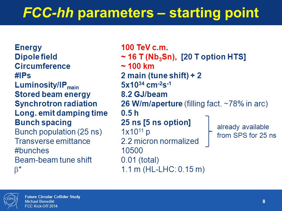 FCC-hh parameters – starting point