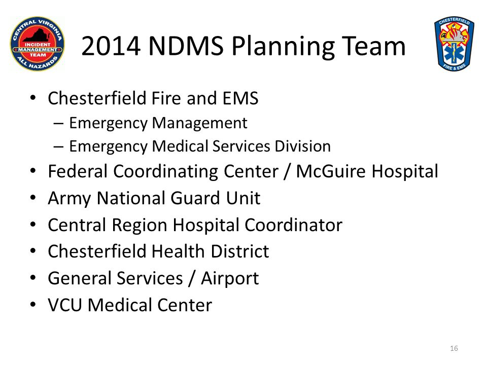 2014 NDMS Planning Team Chesterfield Fire and EMS