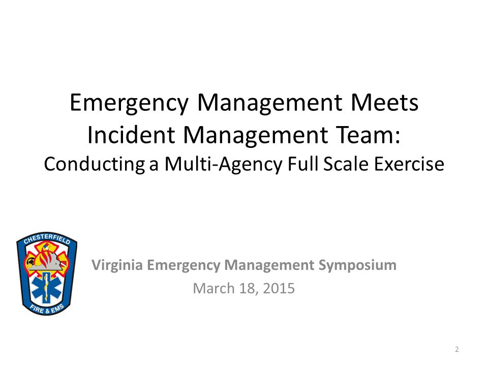 Virginia Emergency Management Symposium March 18, 2015