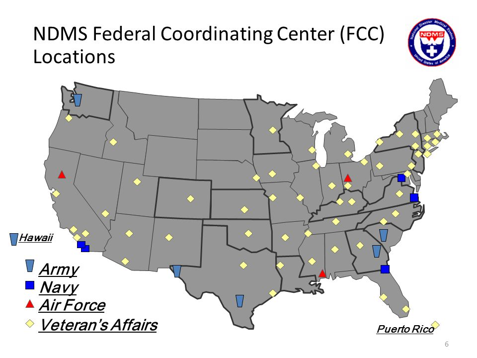 NDMS Federal Coordinating Center (FCC) Locations