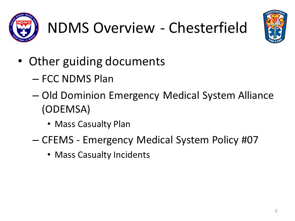 NDMS Overview - Chesterfield