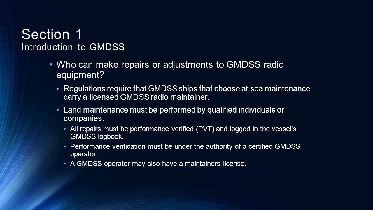 Section 1 Introduction to GMDSS