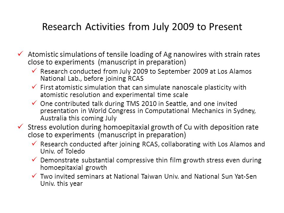 Research Activities from July 2009 to Present